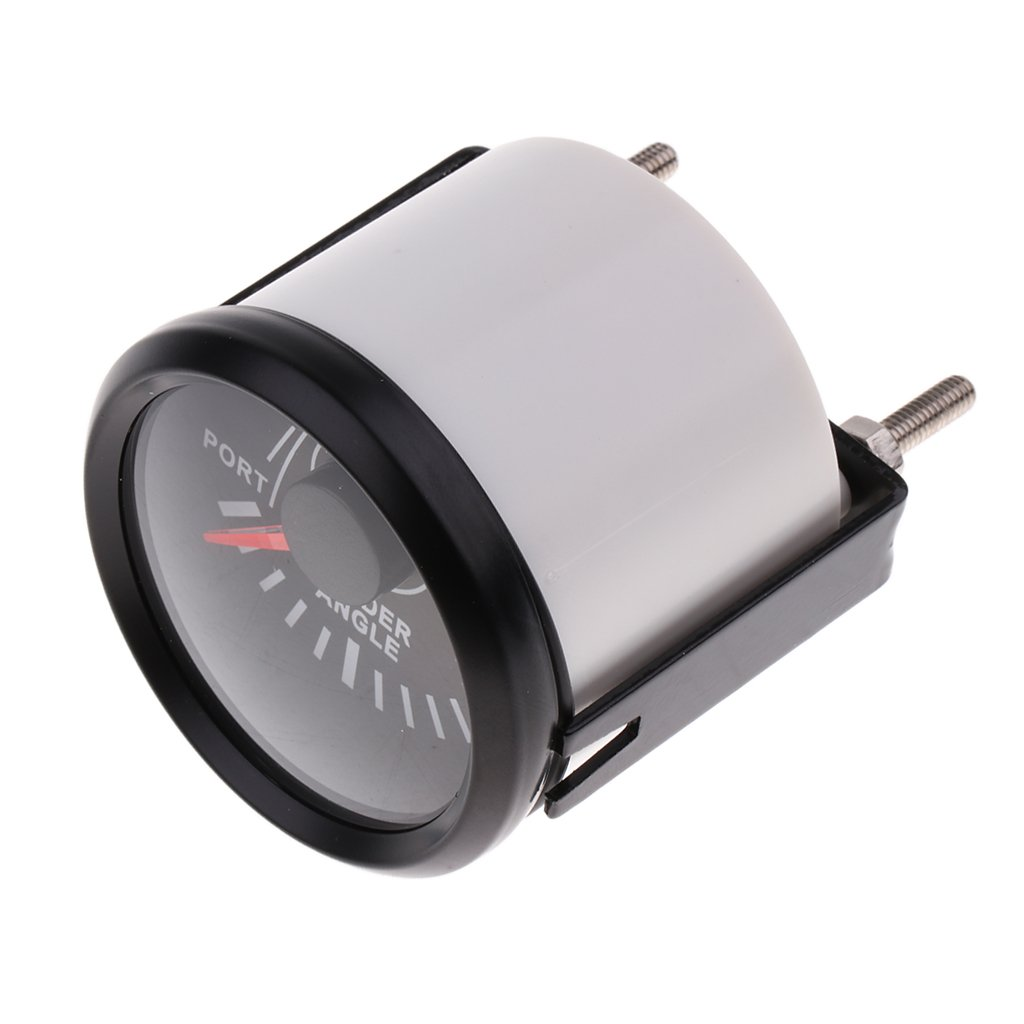 Black Chrome Yacht Marine Rudder Angle Indicator Gauge 0-190ohm 52mm 12V//24V