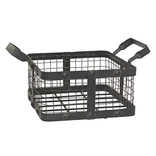 Serving Square Basket - Stonebriar Small Square Worn Black Metal and Wire Basket with Handles, Industrial Home Decor for Storage and Organization, Rustic Serving Basket for Weddings, Birthdays, and Holiday Parties