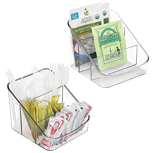 - mDesign Small Plastic Food Packet Organizer Caddy - Storage Station for Kitchen, Pantry, Cabinet, Countertop - Holds Spice Pouches, Dressing Mixes, Hot Chocolate, Tea, Sugar Packets - 2 Pack - Clear