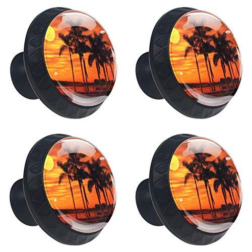 (Idealiy Palm Tree Silhouette Sunset Cabinet Door Knobs Handles Pulls Cupboard Handles Drawer Wardrobe 4pcs )