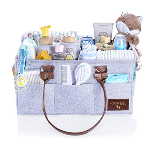 Farber Baby Diaper Caddy Organizer | Large Baby Diaper Organizer Portable Storage Basket for Baby Needs | Nursery Changing Table Storage Bin and Car Organizer for Diapers and Baby Wipes (Light Gray)