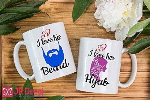 I love his Beard and I love her Hijab - printed Islamic Mugs Gifts Muslim couple mug set - Islamic Cups - Personalized Islamic weeding gift, Muslim mugs coffee Mugs Couple Mugs by JR Decal Wall Sticker