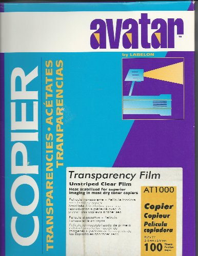 Avatar AT1000 by Avalon Transparency Film, Unstriped Clear Film, 8.5 x 11