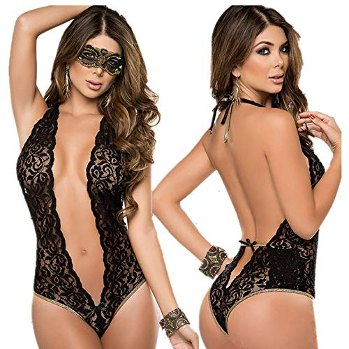 Porn Babydoll Sexy Lingerie Hot Black Lace Transparent Teddy Lingerie Women Sexy Costumes Erotic Underwear Sleepwear with Mask XL by VEFGDDWF