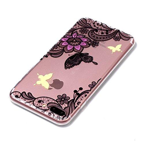 Coque iPhone 8 Plus Beau papillon de fleurs Premium Gel TPU Souple Silicone Transparent Clair Bumper Protection Housse Arrière Étui Pour Apple iPhone 8 Plus + Deux cadeau