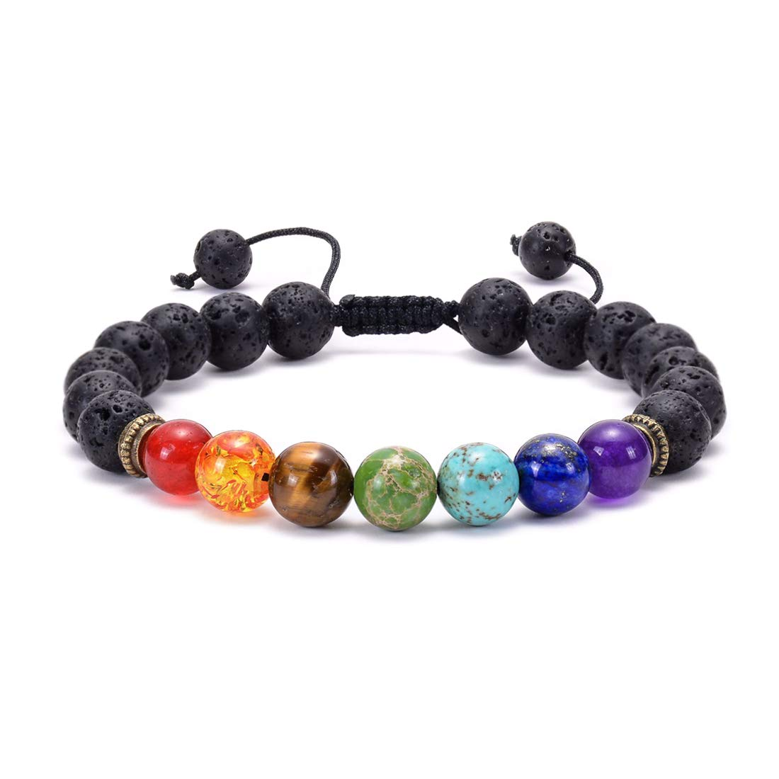 Swlttal 7 Chakra Natural Lava Rock Aromatherapy Essential Oil Diffuser Bracelet Yoga Stone Bead Healing Bracelet for Women