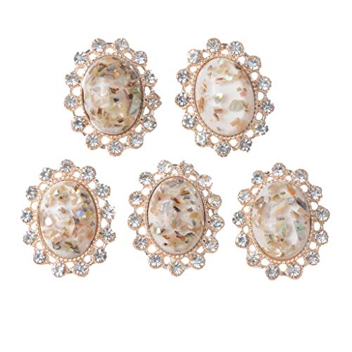 Prettyia 5X Women Fashion Vintage Crystal Oval Flatback Buttons Jewelry Making Embellishment - White