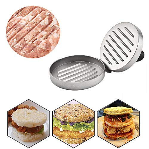 ❤️Jonerytime❤️Heavy Hamburger Press Burger Meat Beef Grill Patty Maker Mould Kitchen BBQ Tool Silver -