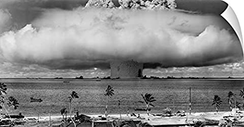 John Parrot Wall Peel Wall Art Print entitled A nuclear weapon test by the American military at Bikini Atoll, (Exploding Smoke Bombs)