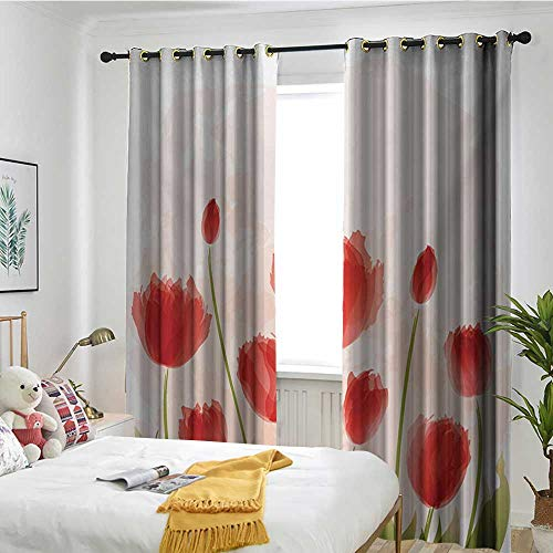 Bedroom Curtains Insulated Blackout Curtain Floral,Romantic Tulip Bloom Flower Meadow Fresh Feminine Buds Watercolor Effect,Vermillion Green Peach -