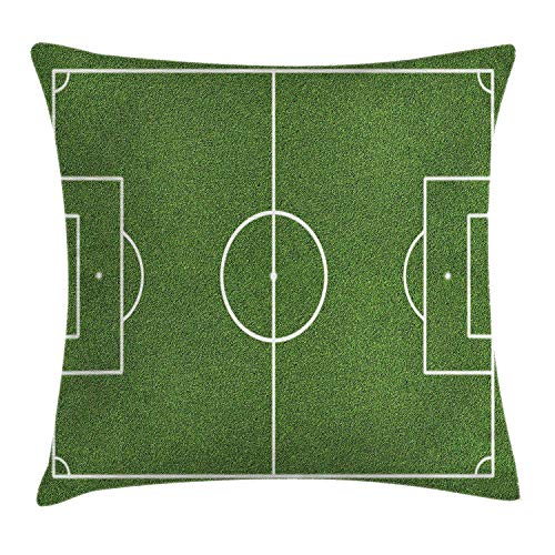 Queen Area Teen Room Decor Soccer Field Grass Motif Stadium Game Match Winner Sports Area Print Square Throw Pillow Covers Cushion Case for Sofa Bedroom Car 18x18 Inch, Fern Green White by Queen Area