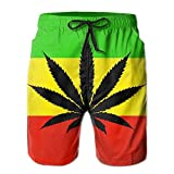2018 pants Jamaica Flag Men's/Boys Casual Swim Trunks Short Elastic Waist Beach Pants with Pockets