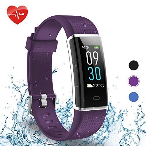 BingoFit Smart Band Activity Tracker Smart Wristband Fitness Watch IP68 Waterproof Fitness Tracker Pedometer Watch with Heart Rate Sleep Monitor Color Screen Activity Watch for Men Women Kid-Purple