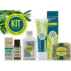 Kit Natural con ingredientes Refrescantes (Jabon Artesanal,Crema Natural,Pasta de dientes Natural y Aceite esencial)