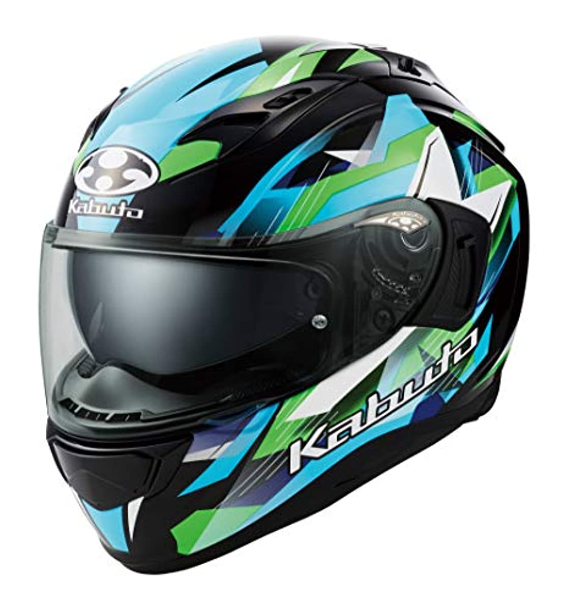 [해외] OG K (카부)카브도(OGK KABUTO)오토바이 헬멧 풀 페이스 KAMUI3 STARS(스타의) 블랙 그린 (사이즈:XL) 587390