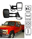 k1500 tow mirrors power - 1988-1998 Chevy GMC C/K Towing Mirrors Pair Set Power Glass With Convex Lens LED Turn Signal 4-Hole Plug Telescoping Pickup Truck Side View Mirrors (Support Brackets Included)