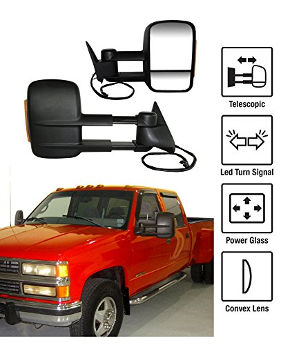 1988-1998 Chevy GMC C/K Towing Mirrors Pair Set Power Glass With Convex Lens LED Turn Signal 4-Hole Plug Telescoping Pickup Truck Side View Mirrors (Support Brackets Included)