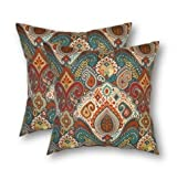 Set of 2-17'' Indoor/Outdoor Square Throw/Toss Pillows Bohemian Retro Paisley~ Teal Red Orange~
