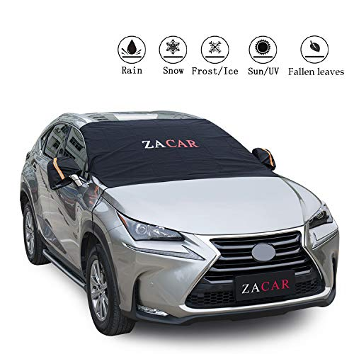 Cover Snow Shield - Windshield Cover ,ZACAR Windshield Cover with Mirror Covers for All Seasons ,Blocking the heat of the sun ,snow ,fallen leaves ,Elastic Hooks Design Will Not Scratch Paint,Fits Most Car with 85