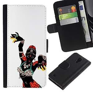 For SAMSUNG Galaxy S4 IV / i9500 / i9515 / i9505G / SGH-i337,S-type® African Woman Native Tribal Dancer - Dibujo PU billetera de cuero Funda Case Caso de la piel de la bolsa protectora
