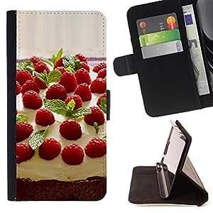 BullDog Case - FOR/LG G3 / - / Fruit Macro Raspberry Cake /- Monedero de cuero de la PU Llevar cubierta de la caja con el ID Credit Card Slots Flip funda de cuer