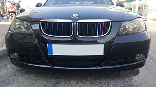 Fit for BMW 3 Series 2003-2008 E90 12 Slats Bars Grilles Bonnet Hood Kidney Clip in Inserts Grille Stripes Cover Decor M Sport Tech Power Performance 3 Color ()