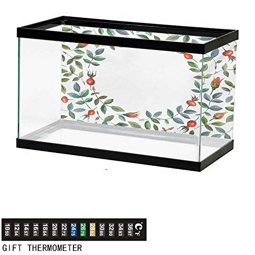 wwwhsl Aquarium Background,Floral,Christmas Like Frame Image Buds Flowers Leaves Watercolor Vector Art,Red Olive Green Blue Green Fish Tank Backdrop 60