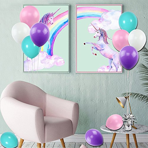 KUMEED 12 Inch Balloons White Purple Pink Blue Assorted Latex Balloons for Birthday decorations Baby Shower Party Supplies 100 Pcs