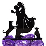 LOVENJOY with Gift Box Love Her Love Her Dogs Silhouette Acrylic Wedding Engagement Cake Decoration Topper Black (5-inch) (Updated Version)