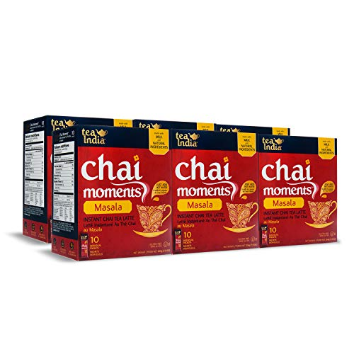 (Tea India Chai Moments, Masala, Instant Chai Tea Latte, 10 Count (Pack of 6))