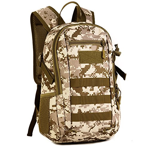 12L Mini Daypack Military MOLLE Backpack Rucksack Gear Tactical Assault Pack Student School Bag (Desert camo)