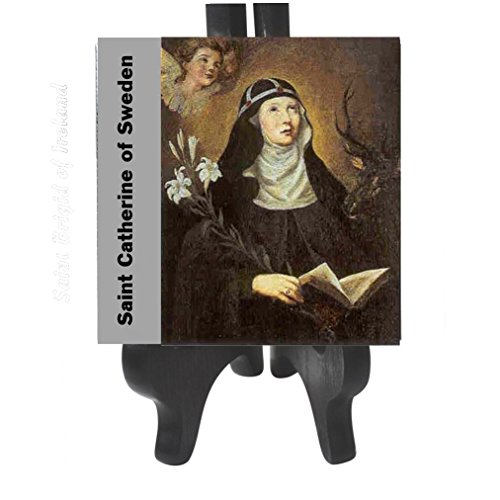 Michael Gold Anthony Cross (Saint Catherine of Sweden Patron Saint Against Abortion and Miscarriage Porcelain Tile Plaque Ready for Hanging Three Sizes Available Blessed Prayer Card (6 x 6))