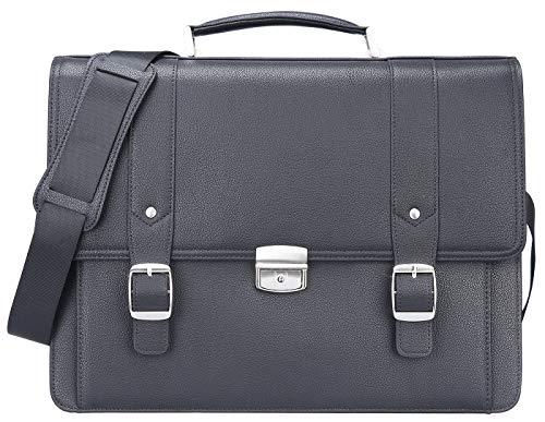 Ronts Genuine Leather Briefcase for Men Lock Bag Lawyer Attache Case Business 15.6 Inch Laptop Messenger Bag Work Shoulder Handbag Black