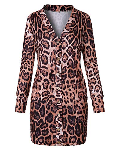 Print V-neck Cardigan - Viracy Open Front Cardigan, Womens Fall Tops Snap Button Outwear Sexy Leopard Print Cardigans Loose Fit Long Jackets Nice Full Sleeve V Neck Sweatshirts Slouchy Design Youth Hipster Coat X-Large