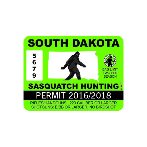 RDW South Dakota Sasquatch Hunting Permit - Color Sticker - Decal - Die Cut
