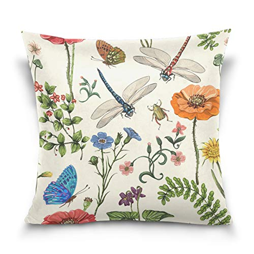 Vantaso Throw Pillow Covers Botanical Wallpaper Floral with Butterflies 18x18 for Sofa Couch Living Room Bed Decorative