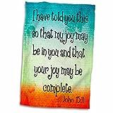 3D Rose Verse John 15-11 with Butterfly Bible Christian Inspirational Saying Towel, 15'' x 22''