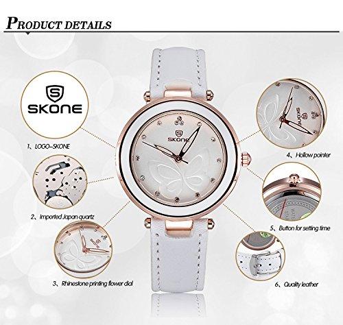 AStarsport Womens Girls Butterfly Rhinestone Scale Watches Analog Quartz Leather Watch Male Casual Wristwatch Black by AStarsport (Image #3)