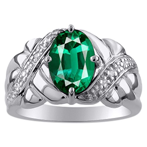 - Ladies Emerald & Diamond Ring White Gold Plated Sterling Silver