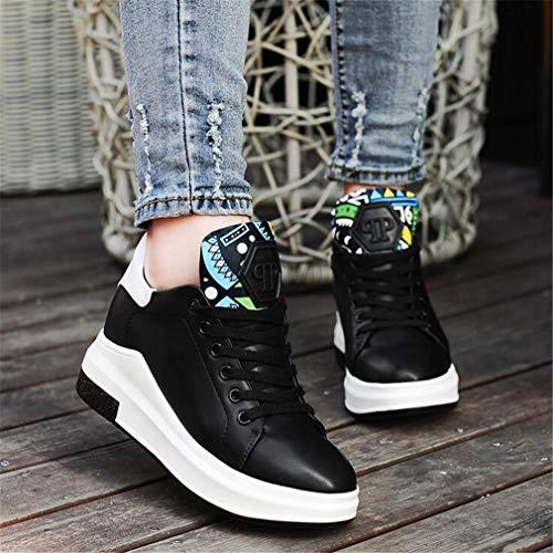 weiße Casual Lace Ladies Athletische Invisible Damenschuhe erhöhen Kleine Fallen EIN Schuhe Deck up Schuhe Exing weiß Schuhe Schwarz xWzUPxO