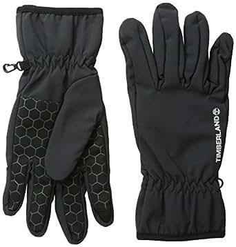 Timberland Men's Softshell Glove Logo Palm with Touchscreen, Black, Medium