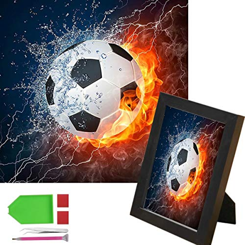CJOY Crystal DIY 5D Diamond Painting by Number Kit(Football)with 5 Piece Tool Set 8 Inch Frame with Full Drill Prime Rhinestone Picture Canvas Wall Decor for Adult Kid Art Craft 6x8 Inch ()