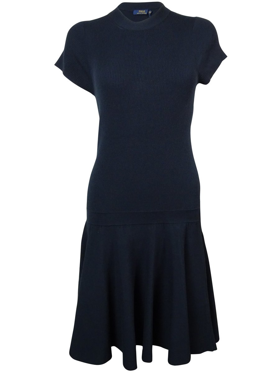Polo Ralph Lauren Women's Mock-Turtleneck Dropped-Waist Knit Dress (L, Navy)