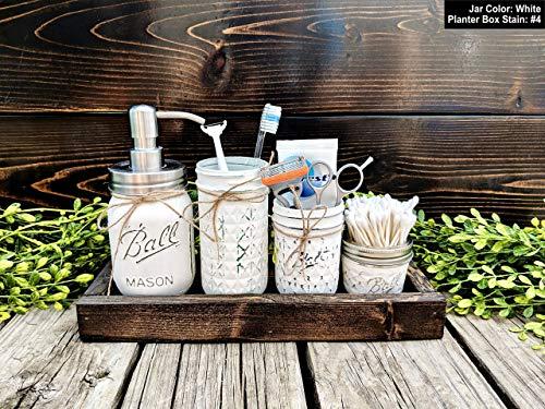 4 Piece Mason Jar Bathroom Set With Soap Dispenser. Mason Jar Decor Includes Soap Pump, Cotton Swab Holder, Toothbrush Holder, and Cotton Swab Holder. -