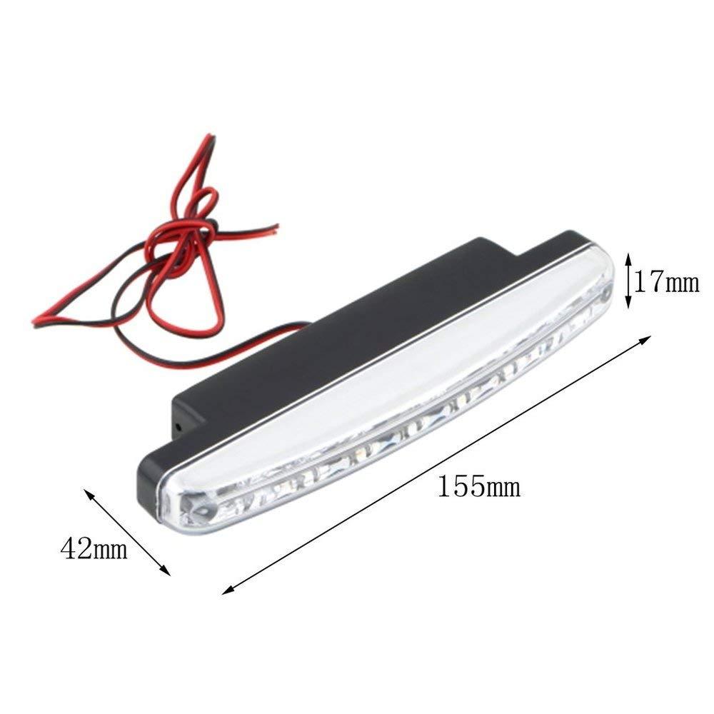 Universal 12 V 8 x LED Auto Auto Tagfahrlicht Nebelscheinwerfer Auto Fahrlicht Hilfslampe mit Super Wei/ßes Licht HEI/ßER