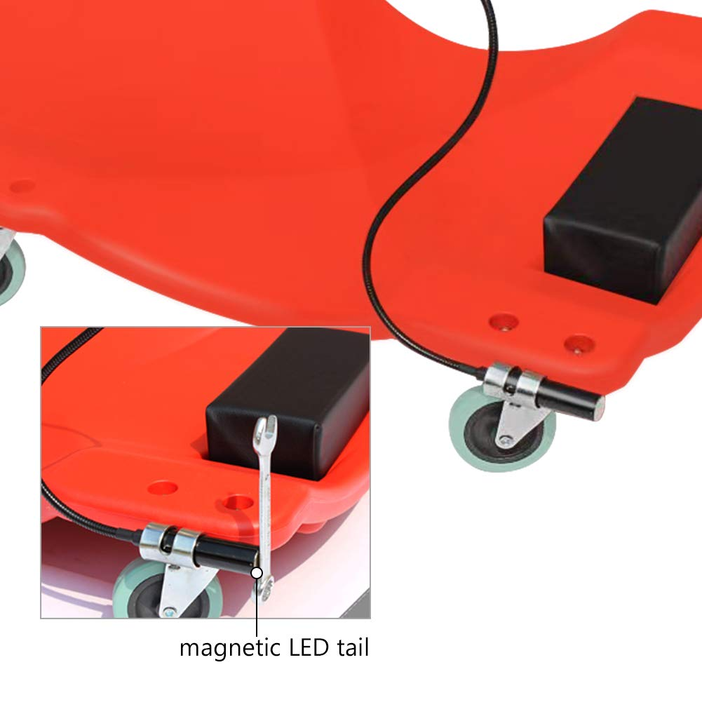 GOGOLO Mechanic Plastic 40'' Car Creeper Board with Led Light, Car Workshop Crawler Board Ergonomic Body & Padded Headrest & Dual Tool Trays, 200kg Capacity, Red by GOGOLO (Image #6)