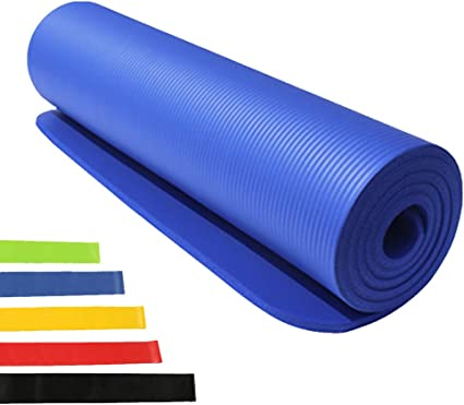 Amazon Com 15mm Exercise Mat Extra Thick Exercise Mat Non Slip Workout Mat For Yoga Pilates Stretching Meditation Floor Fitness Exercises Blue Sports Outdoors
