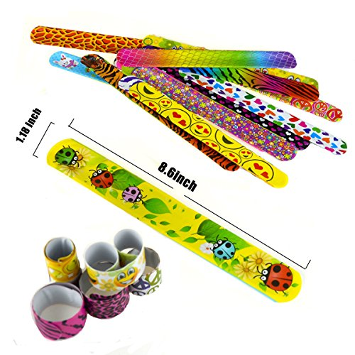 Slap Bracelets, 35 PCS Birthday Party Favors Gifts (25 Designs Slap Bracelets + 5 Reversible Sequin Mermaid Bracelets + 5 Silicone Emoji Bracelets), Charming Wristband for Kids and Adults. by JACHAM (Image #2)