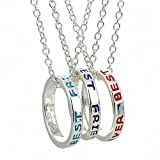 Sobly Jewelry Set of 3 Best Friends Forever Necklace, Engraved Ring Pendant Charm Necklace (Style 1)