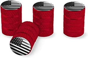 Graphics and More Subdued American USA Flag Black White Military Tactical Tire Rim Wheel Aluminum Valve Stem Caps - Red